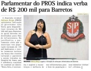Adriana Borgo na Midia - O Diario - Barretos - 28 de Novembro de 2019