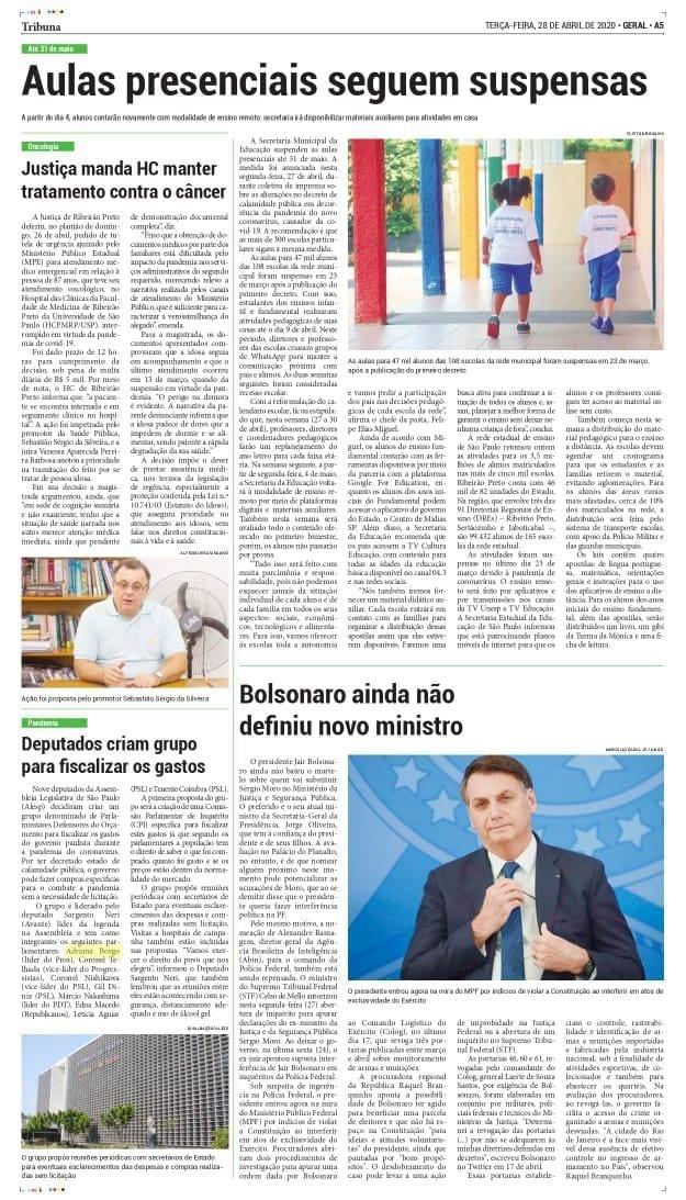 Adriana Borgo - Na Midia - Jornal Tribuna - Ribeirão Preto - 28 de abril de 2020