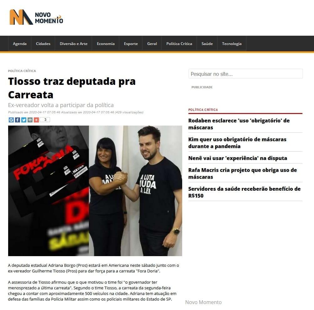 Adriana Borgo - Na Midia - Portal Novo Momento - 17 de abril de 2020