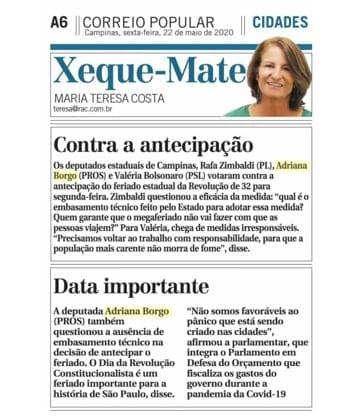 Adriana Borgo - Na Midia - Correio Popular - Campinas - 22 de maio de 2020