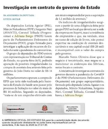 Adriana Borgo - Na Midia - Diario Oficial do Estado de Sao Paulo - 08 de maio de 2020 - v2