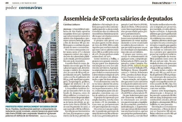 Adriana Borgo - Na Midia - Folha de Sao Paulo - 02 de maio de 2020