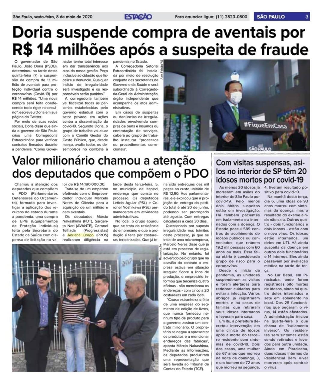 Adriana Borgo - Na Midia - Jornal Estacao - Free Sao Paulo - Zona Norte - 08 de maio de 2020