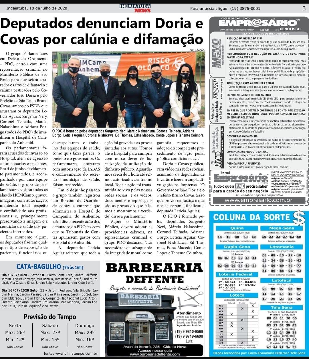 Adriana Borgo - Na Midia - Indaiatuba News - 10 de julho de 2020